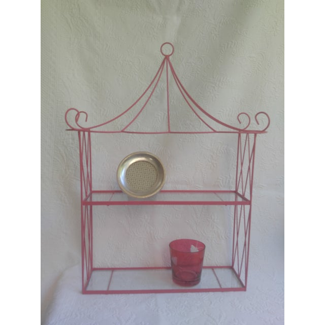 Asian Vintage Pink Tole Pagoda Wall Shelf For Sale - Image 3 of 7