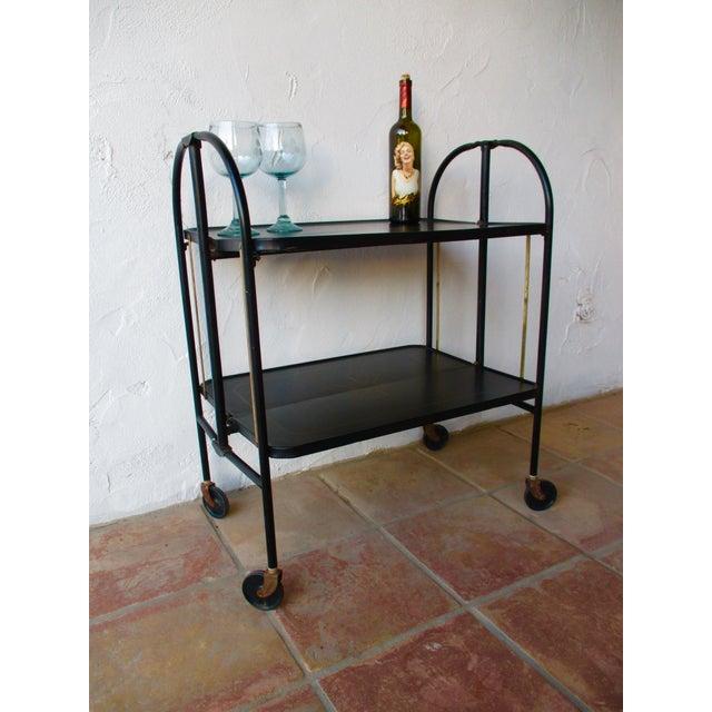 Black Vintage Rolling Folding Bar Cart Image 8 Of 10