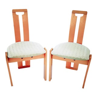 1970s Mid-Century Modern Wooden Narrow Back Chairs - a Pair