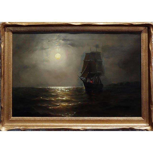 19th century Ship Sailing by Moonlight -Oil painting signed by Miller oil panting on canvas -Signed circa 1880s frame size...