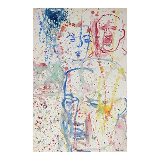 Martin Snipper Mid-Century Modernist Paint Splattered Faces in Watercolor For Sale