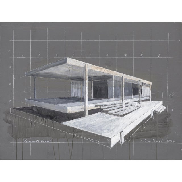 "Acrylic Tom Judd, ""Farnsworth House"" For Sale - Image 7 of 7"