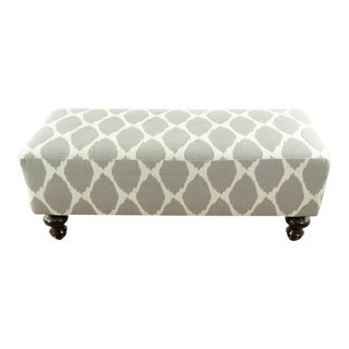 Contemporary West Elm Gray and White Upholstered Bench For Sale