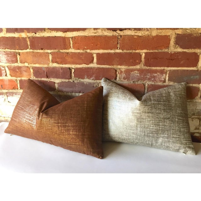 Copper & Gold Metallic Linen Pillow Cover - Image 3 of 4