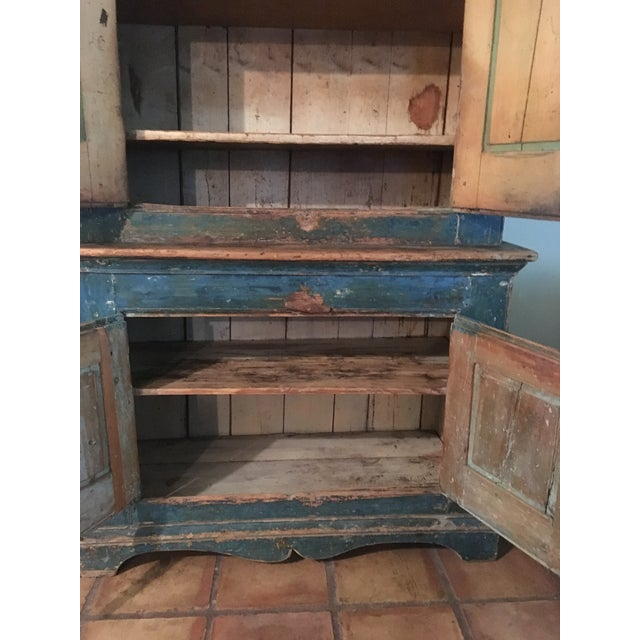 Mid 19th Century Antique Blue Step Back Cupboard For Sale In Houston - Image 6 of 9