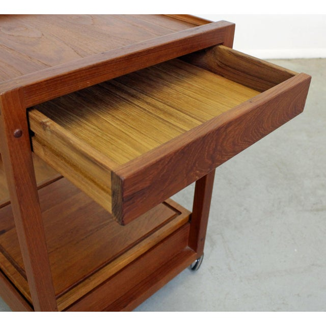 Mid 20th Century Mid-Century Danish Modern Teak Sliding Door Bar Cart For Sale - Image 5 of 11