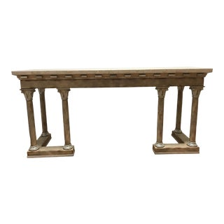 1970s Maitland-Smith Console Sofa Table Tessellated Neoclassical Fossil Stone and Marble For Sale