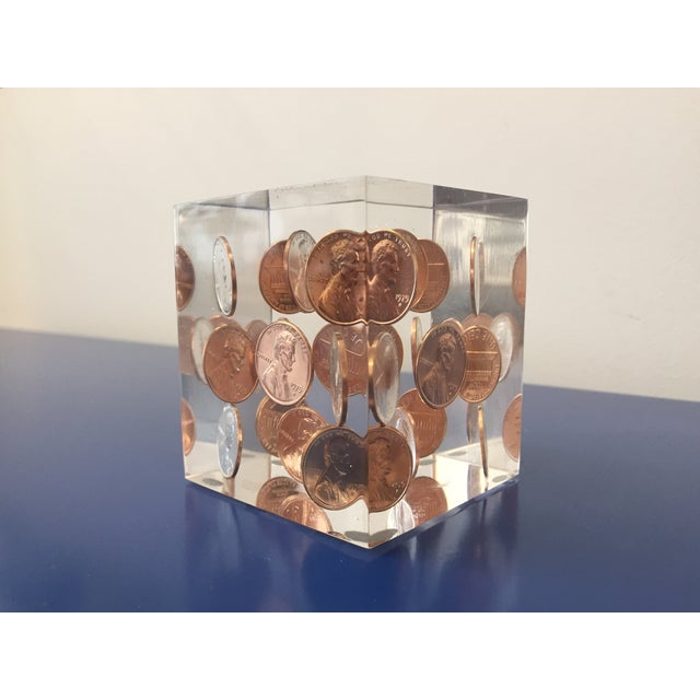 Vintage Lucite Coin Cube - Image 4 of 5