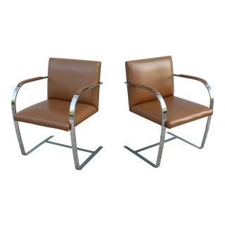 Mies Van Der Rohe for Knoll Vintage Brown Leather Flat Bar Chairs - a Pair For Sale