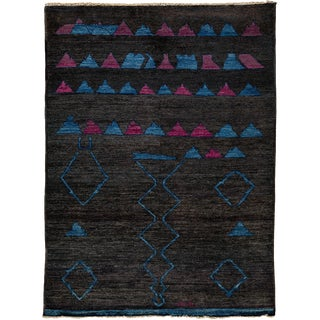 """Contemporary Black Abstract Hand Knotted Area Rug - 6'6"""" X 9' For Sale"""