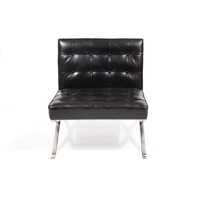 Hans Kaufeld Rare Pair of Steel and Leather Lounge Chairs by Hans Kaufeld For Sale - Image 4 of 8