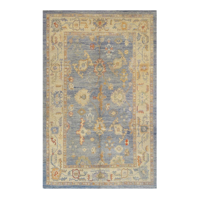 Mansour Turkish Oushak Wool Rug - 6′2″ × 9′6″ For Sale