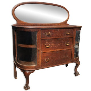 Antique Larkin Curved Glass Oval Mirrored Tiger Oak Server Buffet Sideboard Preview
