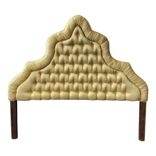Vintage Hollywood Regency Tufted, Upholstered Full-Size Headboard For Sale