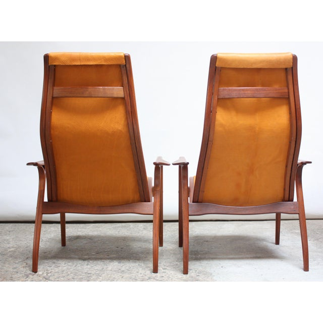 Pair of Swedish Teak and Leather 'Lamino' Chairs by Yngve Ekström For Sale In New York - Image 6 of 13