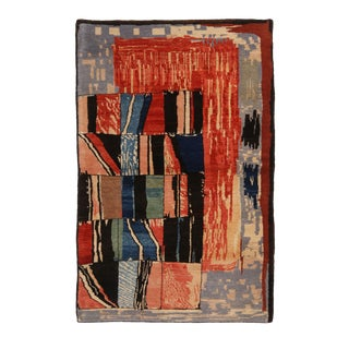 Modern Geometric Traditional Red and Blue Wool Rug For Sale