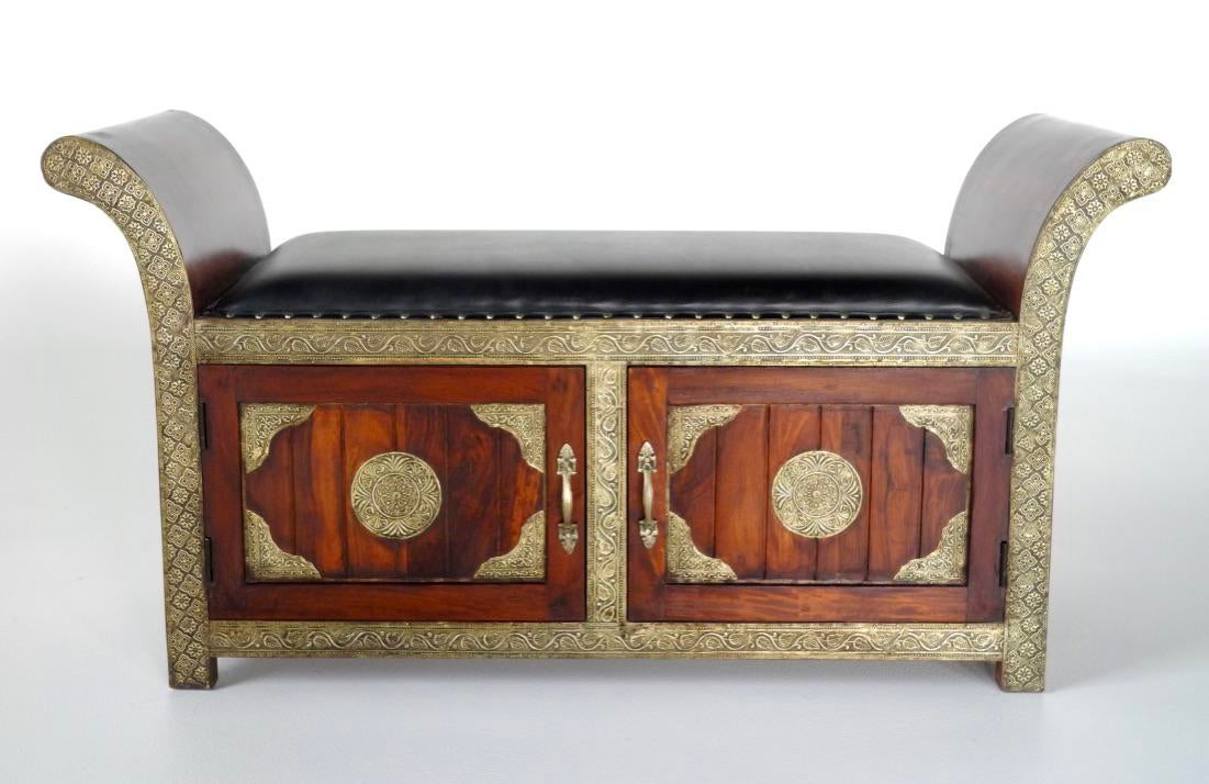 Handmade, Brass Inlaid Cushioned Settee/Bench With Storage Imported From  India. This Bench
