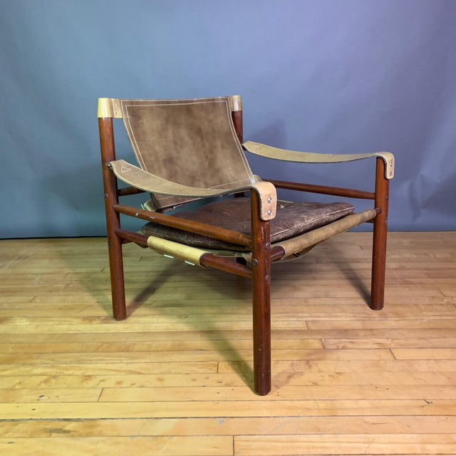 "Arne Norell ""Sirocco"" Leather Safari Chair Sweden For Sale In New York - Image 6 of 12"