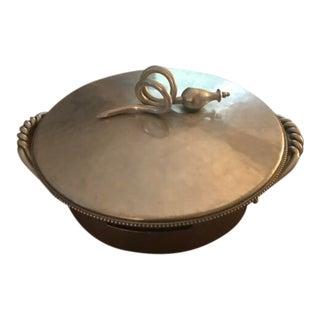 Vintage B W Buenilum Hammered Aluminum Covered Casserole Dish For Sale