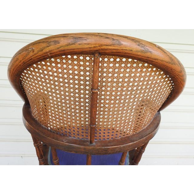 Blue Antique Oak Cane Back Chair For Sale - Image 8 of 10