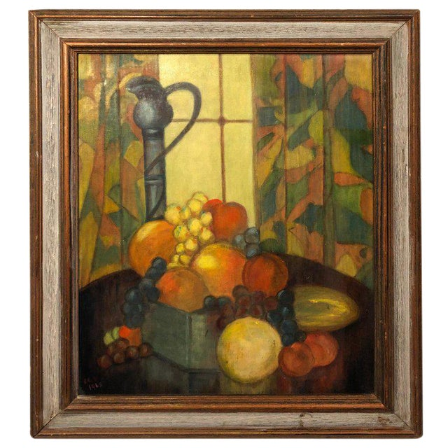 Vintage Mid-Century Still Life on Board Painting For Sale