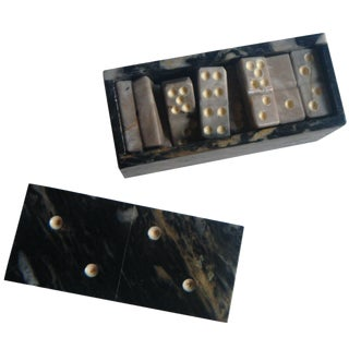 Vintage Agate Domino Game Set in Box