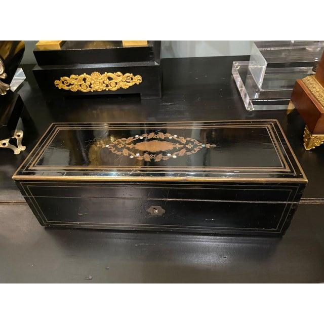 "Napoleon III Ebonized Box With Mother of Pearl Inlay 11"" Wide x 4"" Deep x 3.5"" High"