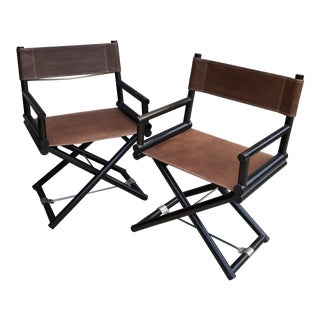Coach Leather Campaign Style Directors Chairs - a Pair For Sale