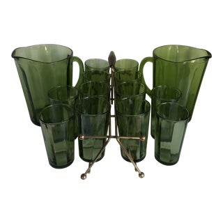 15 Piece Set of Vintage Hazel Atlas Emerald Green (2) Pitchers and (12) Glasses With Caddie (Holds 8)