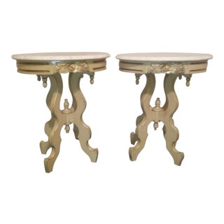 1900s Italian Marble Side Tables - a Pair For Sale