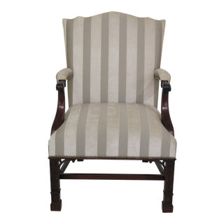 21st Century Stickley Colonial Williamsburg Chippendale Mahogany Library Chair For Sale