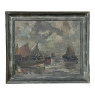 Mid-Century Framed Oil Painting on Canvas by Hubert De Vries For Sale