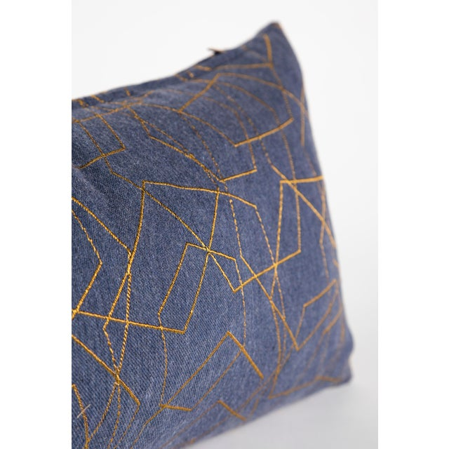 2010s Blue & Gold Hexagons Lumbar Pillow For Sale - Image 5 of 7