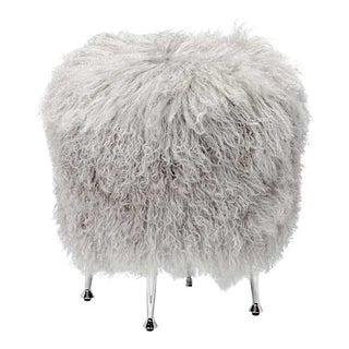 Modern Grey Sheepskin Stool For Sale