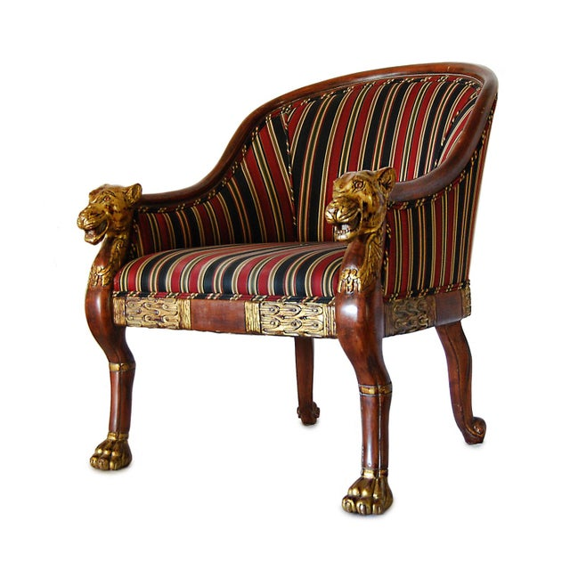Hollywood Regency Hollywood Regency Gilded Lion's Head Chairs - Pair For Sale - Image 3 of 10