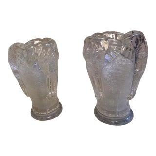 Vintage Art Deco Glass Elephant Lamps - a Pair For Sale