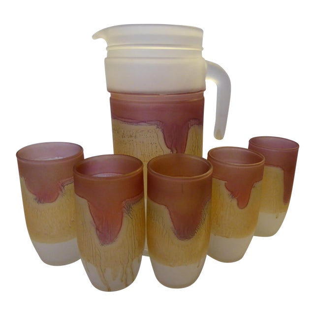 1980's Reuven Nouveau Hand Painted Art Glass Pitcher and Glasses - 6 Pc. For Sale