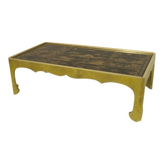 Asian Chinese Style Rectangular Coffee Table with a Black Lacquered Panel Top For Sale