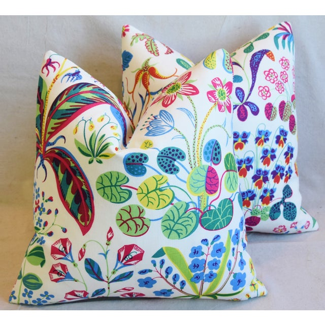 """Feather Designer Josef Frank Floral """"Under Ekatorn"""" Linen Feather/Down Pillows 18"""" Square - Pair For Sale - Image 7 of 11"""