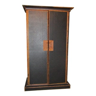 1980s Boho Chic Tall Bamboo and Rattan Cabinet For Sale