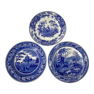 Spode Blue and White Ironstone Plates Trio - Set of 3 For Sale