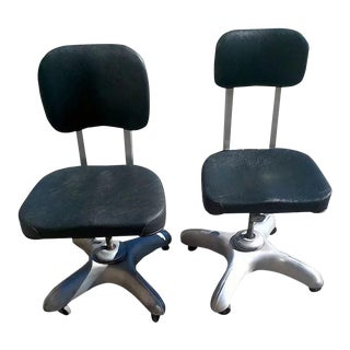 Retro Mid Century Industrial Office Chairs - A Pair For Sale