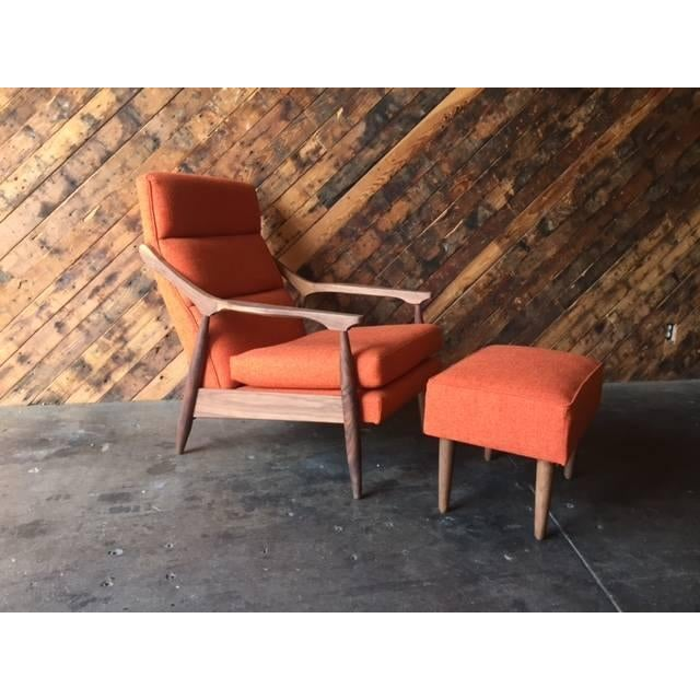 Custom Mid Century Lounge Chair With Ottoman - Image 5 of 6