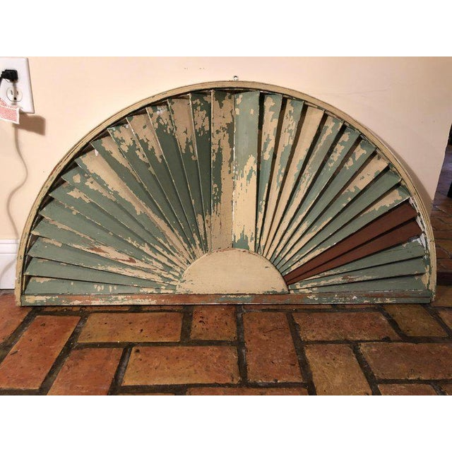 Antique Architectural Demilune Sunburst Window Fragment For Sale - Image 11 of 13