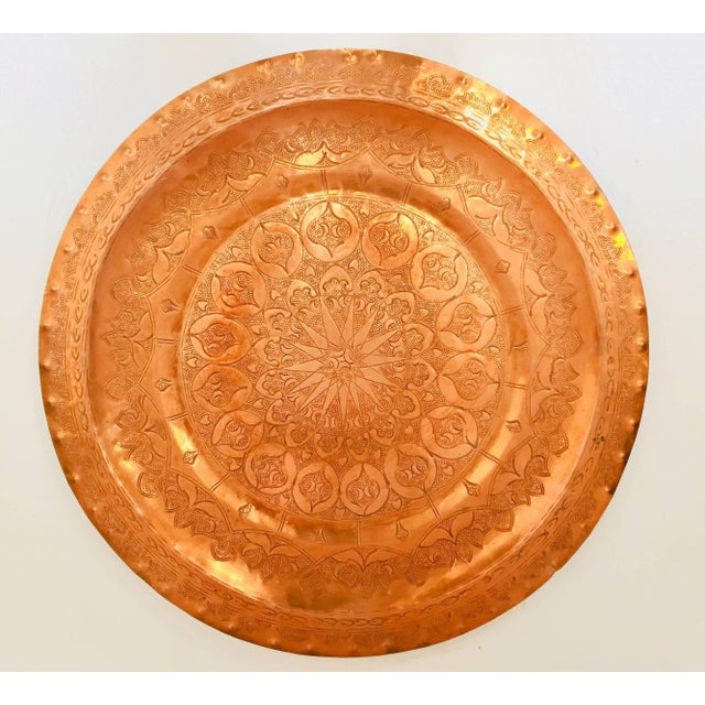 Moroccan Polished Round Metal Copper Tray For Sale - Image 12 of 12