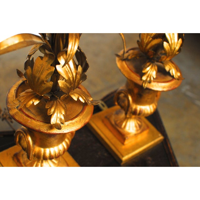 Hollywood Regency Gilt Urn Table Lamps - Pair - Image 6 of 8