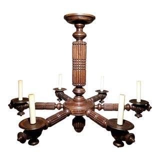 English Carved Oak Six Arm Chandelier For Sale