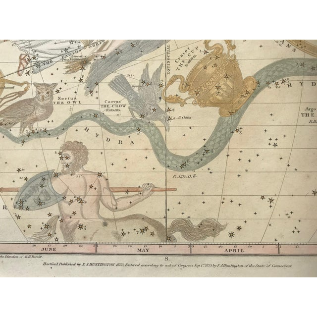 19th C. Antique Pair of Constellation Chart/ Celestial, Astrological Maps by Burrit 1835 For Sale - Image 12 of 13