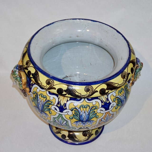 Montagnon 1880s French Blue, Yellow, Green Majolica 2 Pc. Jardinière on Stand For Sale - Image 9 of 13