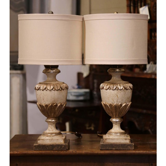 Early 21st Century Italian Carved Wood Polychrome and Painted Urn Shape Table Lamps - a Pair For Sale - Image 5 of 13